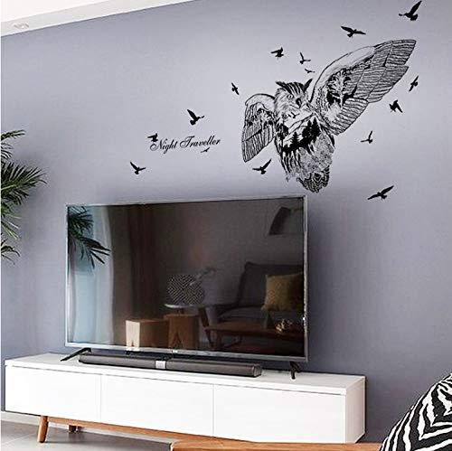 TYKCRt Etiqueta De La Pared Búho Silueta Pájaros Grandes S Calcomanías De Arte Decoración para El Hogar Sala De Estar Dormitorio Extraíble