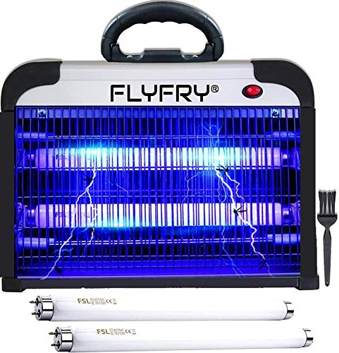 FLYFRY High Voltage Bug Zapper Indoor 20w 2800v, Electric Insect Fly Killer Mosquito Pest Lamp Electrocutor for Mosquitoes Flies Insects Bugs Gnats Moths Wasps with Handle and Extra UV Bulbs