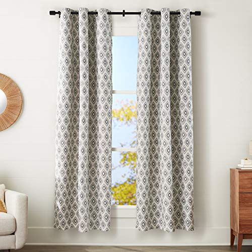 """Amazon Basics 100% Blackout Silky Soft Fabric Window Panel with Grommets and Thermal Insulated, Noise Reducing Blackout Liner - 42"""" x 84"""", Neutral Tribal Diamond"""