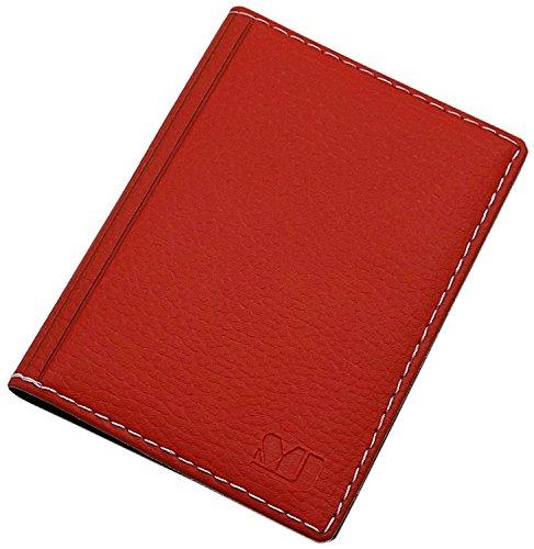 Elegantes Ausweisetui/Ausweishülle/Kreditkartenetui mit Kontrastnaht 12 Fächer MJ-Design-Germany Made in EU Designs (Design 2 / Rot)