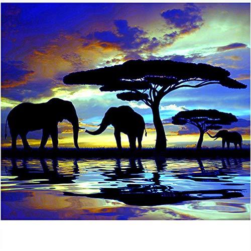 ADVLOOK Pintura Painting by Numbers Adultos Grupo De Elefantes Y Arbol Grande. Pintado A Mano Dibujo Lienzo para Colorear Decoración Única Regalo Dibujo para Colorear Sin Marco 40X50Cm