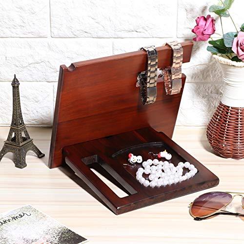 Soporte para almacenamiento de joyas, organizador de almacenamiento de escritorio resistente al envejecimiento, estante de almacenamiento de escritorio de madera natural duradero, a prueba