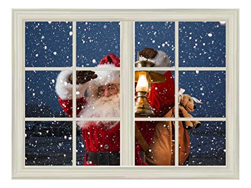 wall26 Removable Wall Sticker/Wall Mural - Santa Claus Carrying Gifts Outside of Window on Christmas Eve - Creative Window View Home Decor/Wall Decor - 36'x48'
