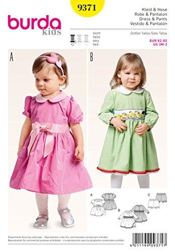 Burda 9371 Schnittmuster Kleidchen mit Bubikragen und Pumphösschen (Kids, Gr. 62-92) Level 2