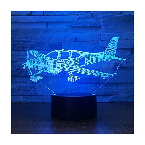 TIDRT Animación 3D Ilusión Lámpara Led Avión Luz Nocturna Panel Acrílico Tridimensional Decoración De Mesa 7 Colores para Cambiar Las Luces del Dormitorio