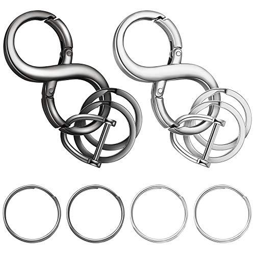 12 Pieces Zinc Alloy Detachable Keychains 8-Shape Car Keychains Car Business Keychains Horseshoe Shape D-Rings Screw-In Shackle D Rings Round Keychain Rings for Men and Women, Silver and Black