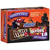 SNICKERS, M&M'S & SKITTLES Halloween Chocolate Candy, Full Size, Variety Mix, 18 Count 34.32-Ou…