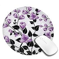 花柄 かわいい マウスパッド丸型 ステッチされたエッジ 個性的 ゴム製裏面 ゲーミングマウスパッド Pc ノートパソコン オフィス用 円形 デスクマット 滑り止め 耐久性が良い おもしろいパターン