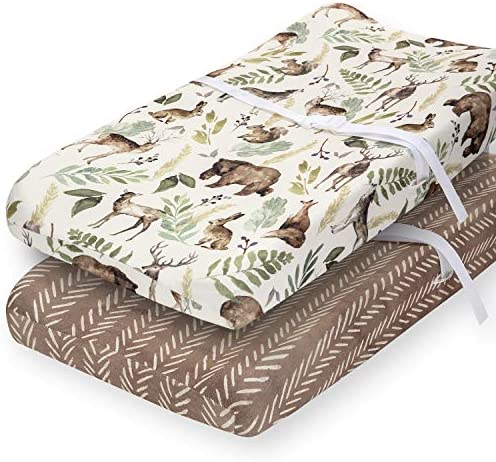 Pobibaby 2 Pack Premium Changing Pad Cover Ultra Soft Cotton Blend Stylish Woodland Pattern product image
