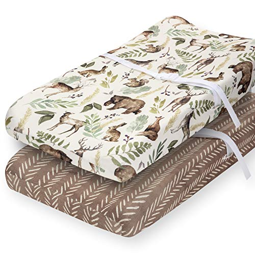 Pobibaby  2 Pack Premium Changing Pad Cover  UltraSoft Cotton Blend Stylish Woodland Pattern Safe and Snug for Baby Wildlife