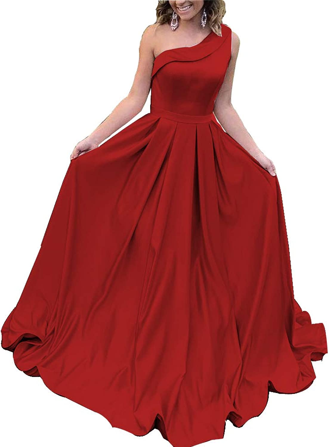 Stylefun Satin Long Prom Dress with Pocket one Shoulder A Line Evening Party Gown BD027