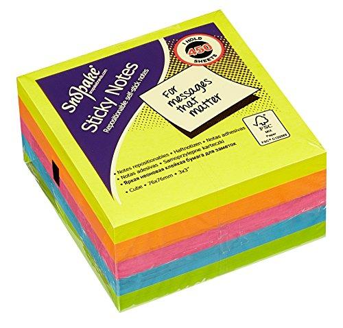 Snopake Sticky Notes Cube - Taco de notas adhesivas (450 unidades, 76 x 76 mm), multicolor