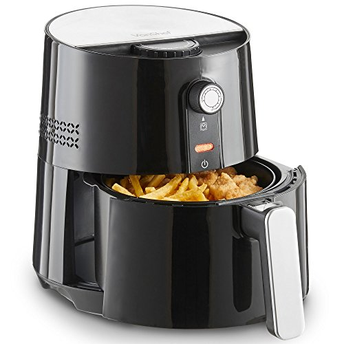 VonShef 3 Quart Electric Hot Air Fryer, Oil Free Healthier Alternative to Deep Frying, Adjustable Temperature Control, 1400W, Black Deep Fryer
