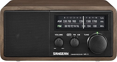 Sangean WR-11BK Wood Cabinet AM/FM Table Top AM/FM Radio +...