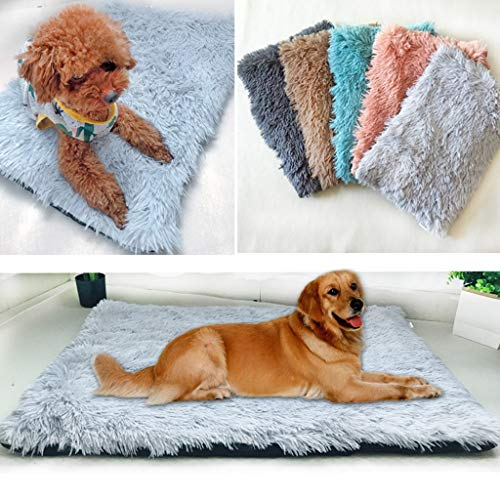 Shirt Luv Dog Sleeping Mat Cat Bed Ultra Soft Plush Dog Crate Mat Pet Beds Mat Travel Dog Bed for Cage Sofa Car Anti Slip Pet Cushion Self-Warming Dog Crate Bed Machine Washable (Blue)