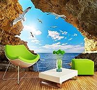 壁の背景装飾画 カスタム壁画壁紙壁3Dステレオ海景写真壁紙リビングルーム寝室テレビソファ背景壁カバー-250X175Cm