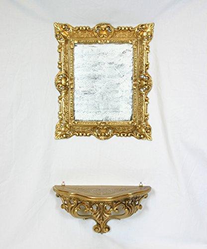 Set étagère Console + Miroir Coiffeuse or doré imitation vintage style louis xvi ameublement entrée