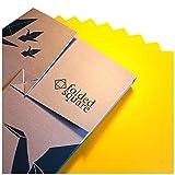 Folded Square Origami Conjunto de Regalo de 100 Hojas de Papel para papiroflexia - Pantone Amarillo 116