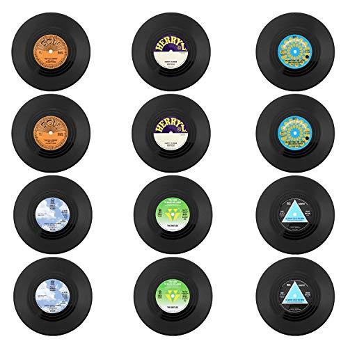 Coolty 12 Stück Retro Vinyl Schallplatten Untersetzer, Rutschfeste Tasse Matte, Isolierte Kaffee Getränke Untersetzer für Tassen Tisch Bar Glas Gläser, 10 * 10 * 0.2cm (Stil C)