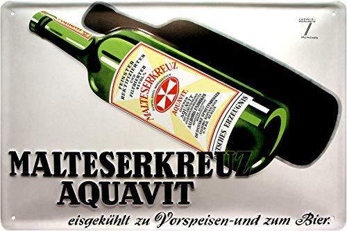 Tin Sign Art Deko Blechschild 20x30 cm 3 D geprägt Malteserkreuz Aquavit Schnaps Alkohol historisch Werbung Reklame
