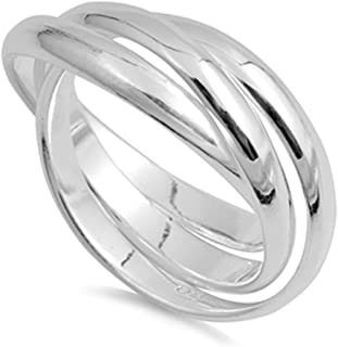Sterling Silver Plain Russian Wedding Ring Trinity Interlocking Rolling Band 9mm (Size 4 to 13)