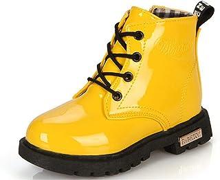 BENHERO Kids Girls Boys PU Waterproof Zipper Lace-Up Ankle Boots (Toddler/Little Kid/Big Kid)