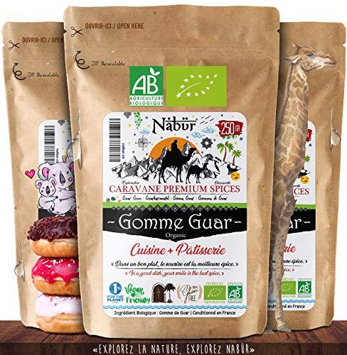 Nabür - Gomme Guar Bio 250gr ⭐ Epaississant Biologique | Vegan – Farine Low Carb | Préparation chaude ou froide, Cuisine & Pâtisserie
