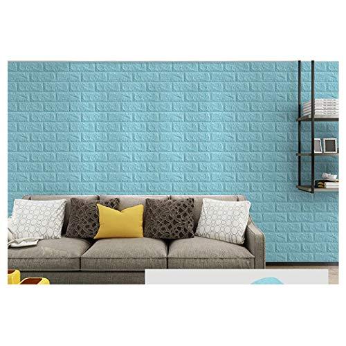Papel Pintado Papel Pared Autoadhesivo Azul Claro 3D Ladrillo Empapelado Pegatina Mural Paneles Autoadhesivo Wallpaper Extraíble Impermeable Decoración para Hogar Cocina Salón Moderna TV Decor