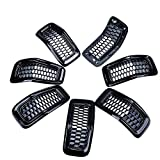 Astra Depots Front Upper Mesh Honeycomb Grill Grille Inserts Cover Kit for Jeep 2014-18 Jeep Cherokee (Matte Black, Mesh Grille&Trim Insert)