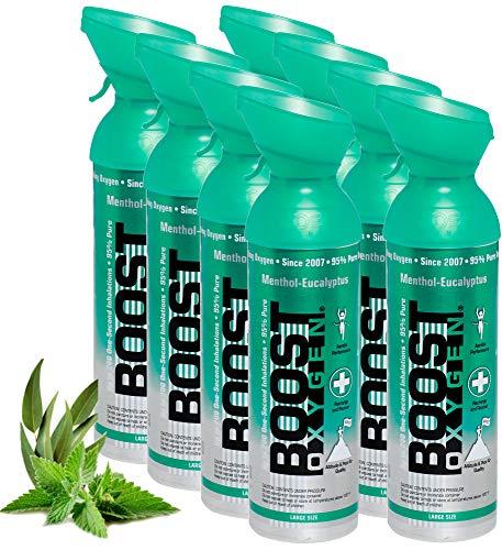 Reiner Sauerstoff in der Dose – 72 Liter MENTHOL EUKALYPTUS, 95% reiner Sauerstoff in zwei transportablen 9 Liter Sauerstoffdosen für mehr als 1200 Inhalationen.