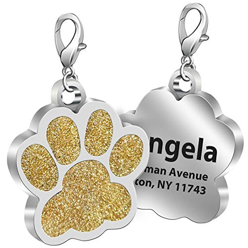 TedYoho Custom Pet ID Tag Glitter Paw Personalized Laser Engraving Name on Stainless Steel Pink Rosy Blue Gold Gift for Small Medium Large Dogs Cats (Gold)
