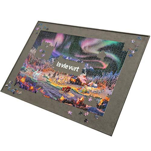 LAVIEVERT Holzpuzzle-Brett, Puzzle-Aufbewahrung, Puzzle-Sparer mit Rutschfester Oberfläche für bis zu 1500 Teile - grau