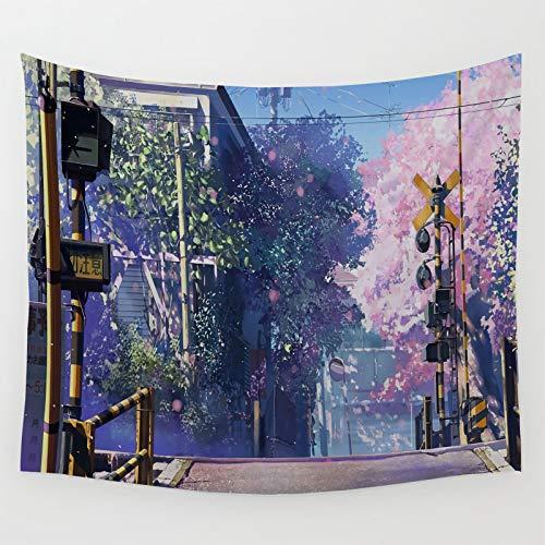 Tapiz Colores Pastel Anime Paisaje 5 Centimetros Por Segundo Árbol Sakura Sala y Dormitorio 210x150cm