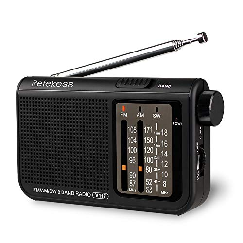 Retekess V117 Analog AM FM Radio, Transistor Shortwave Radio Powered by AA Battery, Portable Elderly Radio with Large Knobs and Clear Dial (Black)