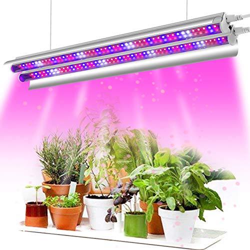Pflanzenlampe LED, Garpsen 2FT T5 Pflanzenlicht Vollspektrum, 96LEDs LED Grow Lampe Pflanzenleuchte mit Reflektor, Daisy-Chain Funktion, Wachstumslampe für Zimmerpflanzen Gartenarbeit(Rot/Blau/Weiß)