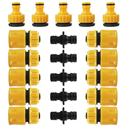 Chudian 20 Pezzi Connettori per Tubi da Giardino Raccordi per Tubo da Giardino in Plastica da 1/2'' e 3/4'' Tubo Flessibile Raccordi Rapidi per Irrigazione e Giardino(Giallo e Nero)