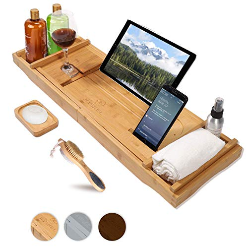 JOSKEL Bath Tray, Foot Brush and Soap Dish- Bathtub Caddy Tray with Extendable Wooden,Bamboo Bath Table, Wine Glass Stand, IPad Holder for a Home-Spa Experience