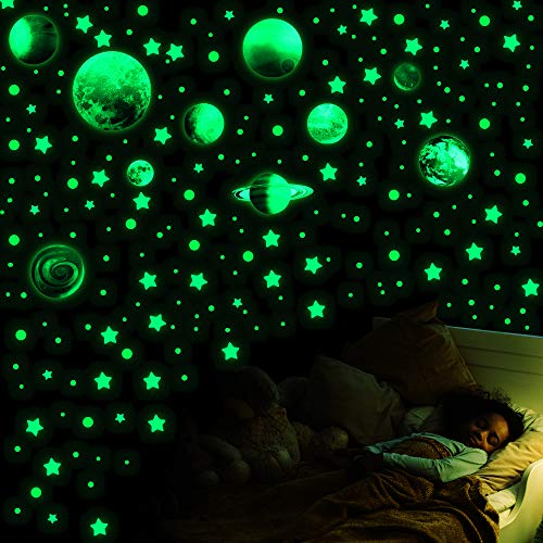 Deloky Glow in The Dark Stars Decals Decor for Ceiling-749 PCS Ceiling Stars Glow in The Dark Kids Wall Decors-Glow in The Dark Stars and Moon Wall Decals for Kids Nursery Living Room (Moon)