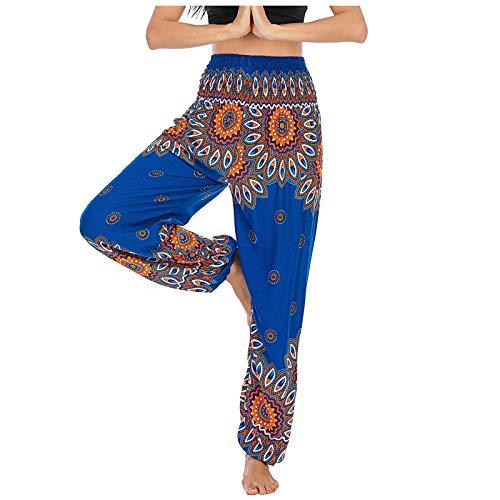 Pantalones de pijama cómodos para mujer, cintura ancha, pantalones de yoga, elásticos, informales, estampados florales, cintura plegable, pantalones de pijama para casa azul Talla única