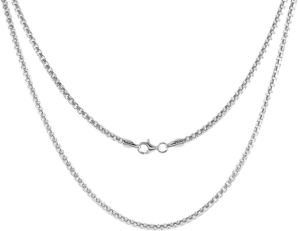 Sterling Silver 2.5mm ROUND BOX 送料無料 Men and Women 税込 Chain Necklacefor