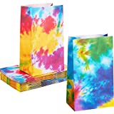 24 Pieces Tie Dye Paper Bags Camouflage Treat Bags Goody Bags Retro Gift Bags Colorful Party Paper...