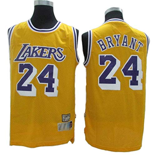 Fans Jersey All-Star NBA Kobe Bryant 24 Los Angeles Lakers Ropa De Baloncesto Clásica Cómodas Camisetas Deportivas De Malla Transpirable,Yellow-S