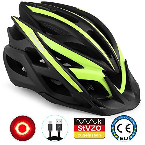 Shinmax fietshelm, fietshelm met LED-waarschuwingslampje bergweg verlichte helm berghelm mannen & vrouwen rijden voor volwassenen verlichting koplampen waarschuwingslichten op achterlicht