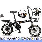 Bove Resistente Y Ligero 16 Inch Folding Bicicleta Plegable Bicicleta Montaña Velocidad Variable Doble Disco Frenos Amortiguadores Bicicleta Urbana Sin Herramientas Unisex-E-7Velocidades
