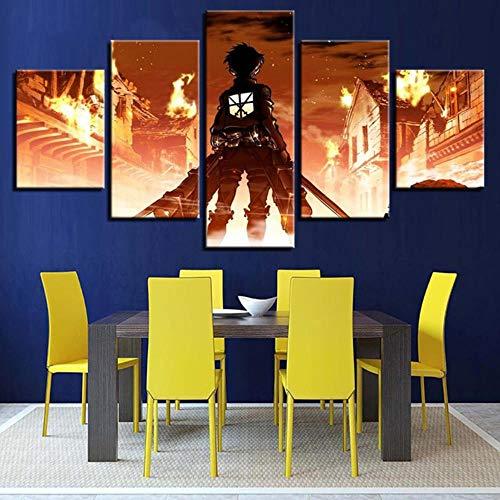 WJY Ataque al Gigante Shingeki no Kyojin Pintura Decorativa de la Sala de Estar de Cinco Piezas, núcleo de Pintura 30x40cmX2 + 30x60cmX2 + 30x80cm, 2