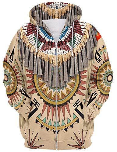 QYIFIRST Sudadera con capucha para disfraz de Indios de Indios de Indios con capucha 3D, color marrn, talla S XL (pecho 113 cm)