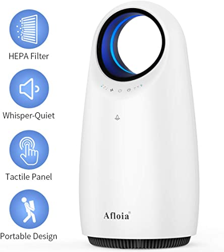 Afloia Air Purifier Air Cleaner with Trure HEPA Filter,Odor Dust Eliminator with Blue Night Light,Timer Function for ...
