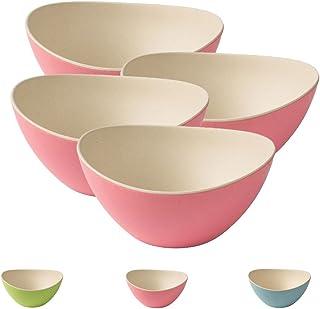 BIOZOYG 4 tazón es de Cereales de Colores bambú I ensaladera Reutilizables, respetuosos del Medio Ambiente, sin BPA I tazón de bambú Ccnjunto Ovalado 14 x 15,5 cm Natural Blanco Rosa