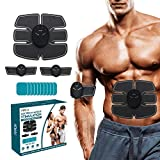 PIPROX EMS Muscle Stimulator, Abs Muscle Trainer, EMS trainer, Home Exercise Device Fitness Workout Equipment, Toning Belts for Men and Women with 10 Gel Pad Bonus