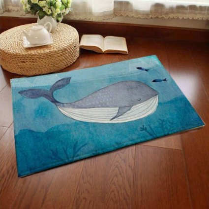 Sell4Style Bath mat Welcome Mats Home Décor Rugs for Indoor Outdoor Office with Non-Slip Back, 23.6' x 15.7' (Blue Whale)